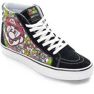 Vans kids super mario high top sneakers sz 13